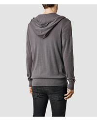 AllSaints - Gray Mode Merino Zip Hoody for Men - Lyst