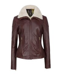 Ted Baker | Brown Ciel Shearling Trim Leather Jacket | Lyst