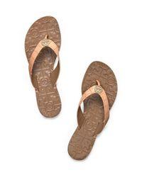 Tory Burch Brown Thora Croc-Print Sandal