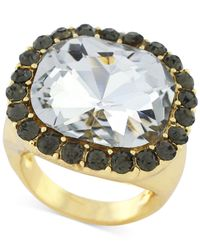 BCBGeneration | Metallic Gold-tone Large Stone And Crystal Drama Ring | Lyst