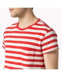 Tommy Hilfiger | Red Cotton T-shirt for Men | Lyst