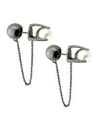 Colette Malouf | Black Pearl Stud Ear Chain | Lyst