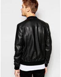 SELECTED Black Leather Bomber Jacket for men