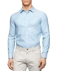 Calvin Klein | Blue Hidden Button Front Sportshirt for Men | Lyst