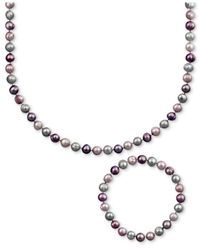 Macy's | Multicolor Pearl Jewelry Set, Sterling Silver Purple And Gray Cultured Freshwater Pearl Necklace And Stretch Bracelet | Lyst
