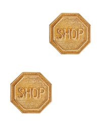 Moschino | Metallic Shop Gold Tone Clip-on Earrings | Lyst