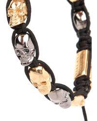 Nialaya | Black Rhodium-plated Skull Bracelet for Men | Lyst