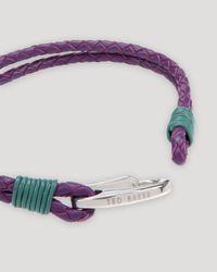 Ted Baker - Purple Twobee Plaited Two-strand Bracelet for Men - Lyst