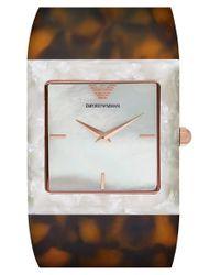 Emporio Armani Brown Square Acetate Cuff Watch
