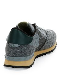 Valentino Gray Rockrunner Camouflage Felt Low-Top Sneakers