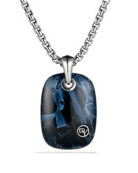 David Yurman Blue Exotic Stone Tablet with Pietersite On Chain for men