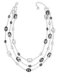 Swarovski - White Palladium-plated Graduated Crystal Three-row Necklace - Lyst