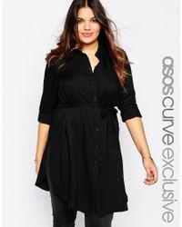 Asos Curve | Black Longline Belted Shirt | Lyst