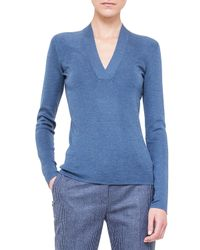 Akris - Blue V-neck Knit Pullover Top - Lyst