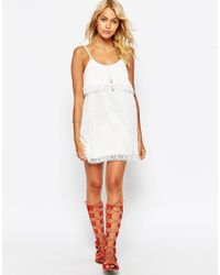 ASOS - Natural Tiered Cami Dress With Cotton Lace - Lyst