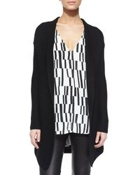 VINCE | Black Ribbed Open-front Knit Cardigan | Lyst