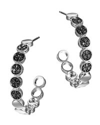 John Hardy Metallic Silver Dot Lava Small Hoop Earrings With Black Sapphire
