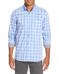 Ted Baker - Blue 'thepane' Modern Slim Fit Plaid Sport Shirt for Men - Lyst