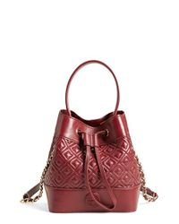 Tory Burch | Brown 'mini Marion' Quilted Lambskin Bucket Bag | Lyst