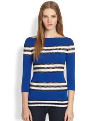 Bailey 44 | Blue Perforated Striped Stretch Jersey Top | Lyst