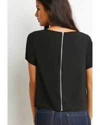 Forever 21 Black Zip-back Embroidered Top