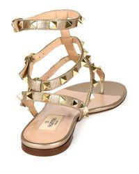 Valentino - Natural Rockstud Leather Gladiator Sandals - Lyst