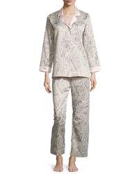 Oscar de la Renta - Gray Brushed-back Satin Paisley-print Long-sleeve Pajama Set - Lyst