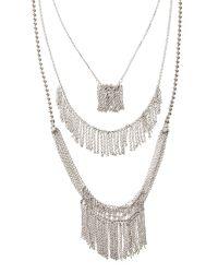 Banana Republic | Metallic Layered Fringe Necklace | Lyst
