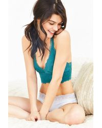 Out From Under Green Allover Scalloped Lace Bralette