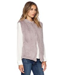 June | Gray Sheared Rabbit Fur Vest | Lyst