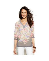 Ellen Tracy - Multicolor Floralprint Embellishedtrim Top - Lyst