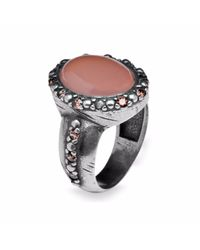Platadepalo | Silver And Zircon Ring With Pink Chalcedony | Lyst