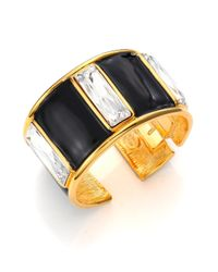 Kenneth Jay Lane - Black Jeweled Rectangle Cuff Bracelet - Lyst