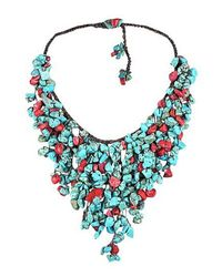 Aeravida - Blue Handmade Natural Coral Tq Waterfall Bib Necklace - Lyst