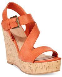 Rampage Orange Helman Platform Wedge Sandals