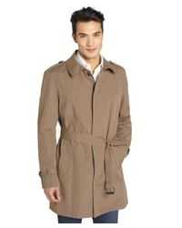Kenneth Cole - Natural Khaki Belted Brushed Cotton Blend Trench Coat for Men - Lyst