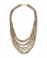 TOPSHOP | Natural Cap And Fabric Multi-row Necklace | Lyst