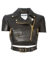 Moschino - Black Cropped Biker Jacket - Lyst