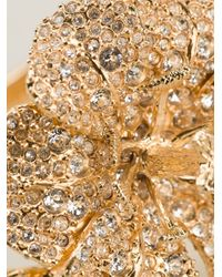 Alexander McQueen - Metallic Embellished Floral Bracelet - Lyst