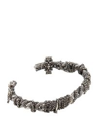 Emanuele Bicocchi | Metallic Woven Chain Perforated Cross Bracelet for Men | Lyst