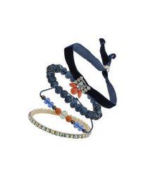 TOPSHOP - Blue Navy Fabric Beaded Bracelet - Lyst