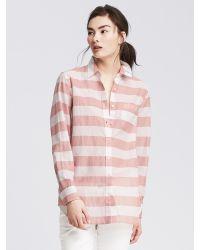 Banana Republic   Pink Soft-wash Striped Boyfriend Shirt   Lyst