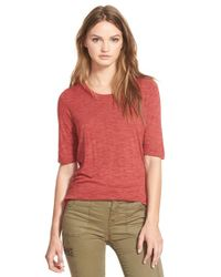 Madewell Red 'anthem' Curved Hem Tee