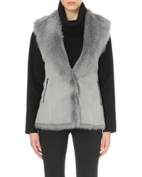 DROMe Gray Leather And Shearling Gilet