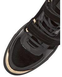 Louis Leeman Black Velvet & Patent Leather High Top Sneaker for men