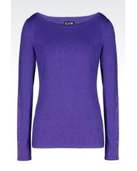 EA7 | Purple 7 Lines Jersey T-shirt | Lyst