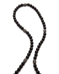 Hipchik Couture Silk Tassel Wood Beaded Necklace Black