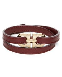 Ferragamo | Red Double Wrap Double Gancini Bracelet for Men | Lyst