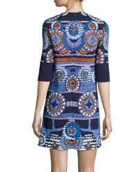 Peter Pilotto - Blue Medallion-print Jersey Tunic Dress - Lyst