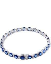 Kojis | Blue White Gold Oval Sapphire Diamond Bracelet | Lyst